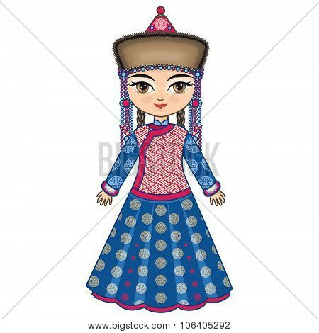 The girl in Buryat dress. Historical clothes.