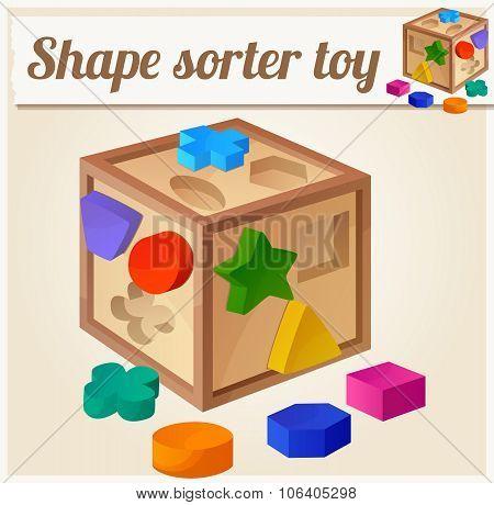 Shape sorter toy. Cartoon vector illustration. Series of children's toys
