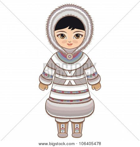 The girl in Chukcha dress. Historical clothes.