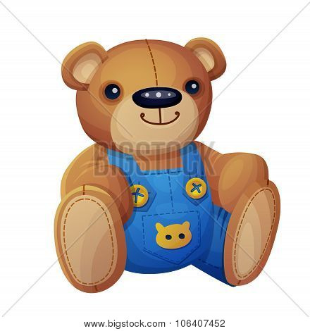Teddy bear in overalls isolated on white background. Cartoon vector illustration