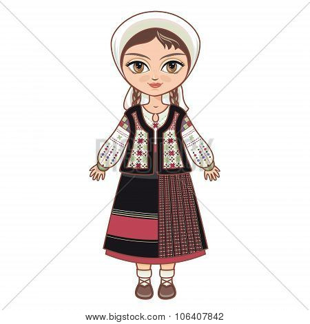 The girl in Moldavian dress.  Historical clothes.