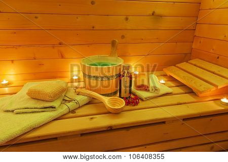 Interior of Sauna with Sauna Accessories
