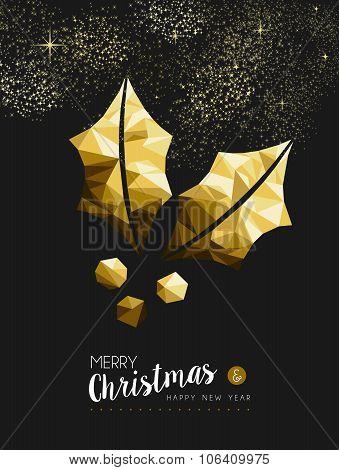 Merry Christmas New Year Golden Holly Low Poly