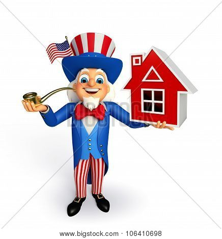 Illustration of uncle sam with home sign poster