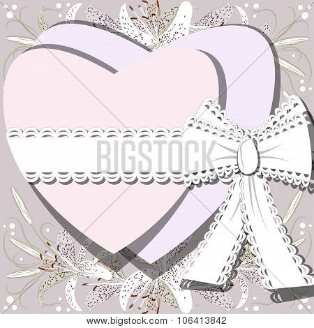 Two White Hearts Tied By Ribbon With Bow On Background Of Blossoming Lilia Flowers