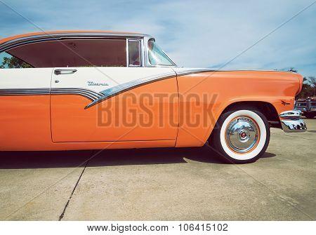 Mandarin Orange And White 1956 Ford Victoria Classic Car