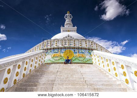View of Shanti Stupa in Leh, Ladak