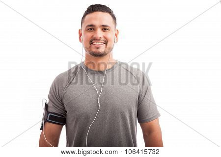 Attractive Athlete Listening To Music