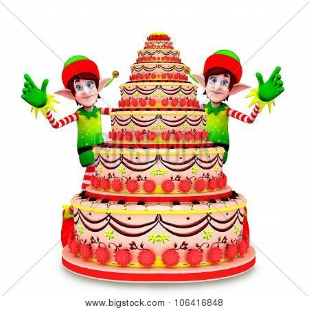 3d rendered illustration of Cartoon character of elves with cake poster