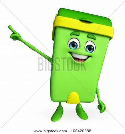 Dustbin Character Is Pointing
