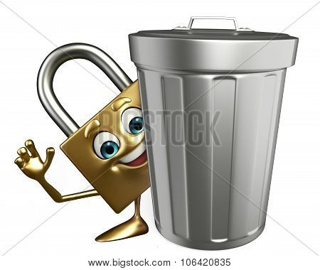 Lock Character With Dustbin