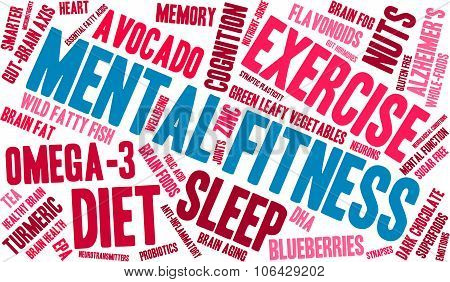 Mental Fitness word cloud on a white background. poster