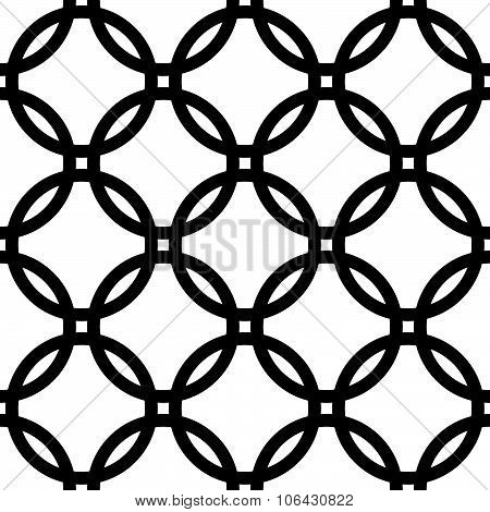 Interlocking Circles. Repeatable, Monochrome Vector Pattern, Background.