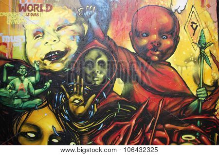halloween mural depicting scary monsters