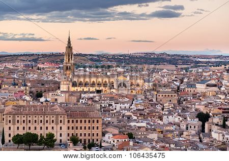 Sunset View Of Toledo City In Spain
