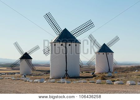 Three Windmills At Campo De Criptana La Mancha, Spain