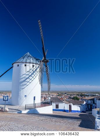 Windmill And Town Of Campo De Criptana La Mancha, Spain