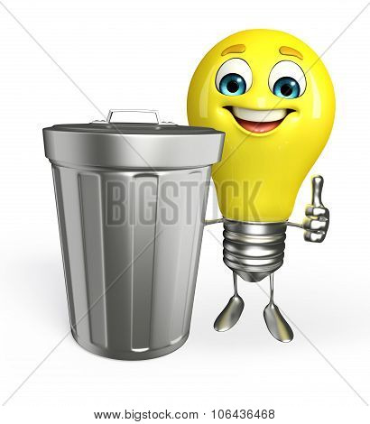 Light Bulb Character With Dustbin