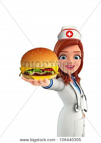 3d rendered illustration of Cartoon Character of Nurse with burger poster