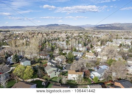 aerial view of Fort Collins residential area, typical along Colorado Front Range, early spring (April) scenery
