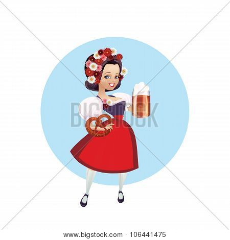 Attractive woman in dirndl with beer and pretzel