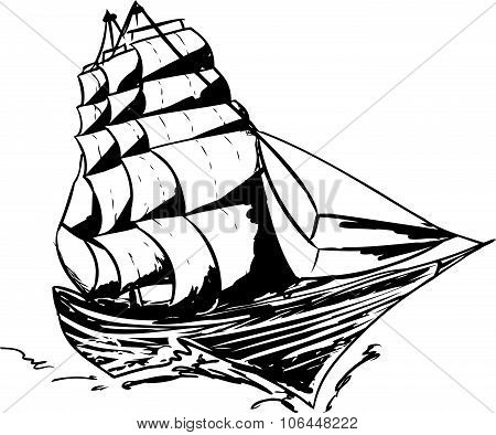 Outlined Clipper Ship