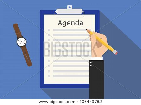 agenda meeting to do list on clipboard