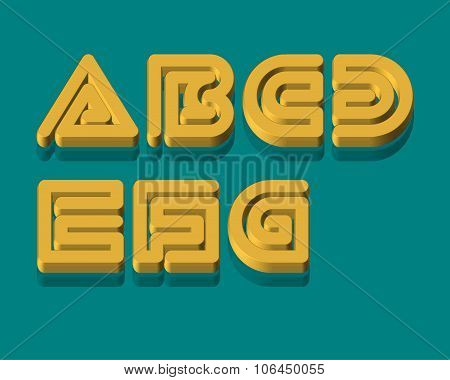 3D Snake Stripe Font Set. A,B,C,D,E,F,G