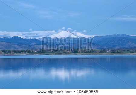 Blue hour on Mt. Meeker and Long's Peak at McIntosh Lake in Longmont Colorado poster