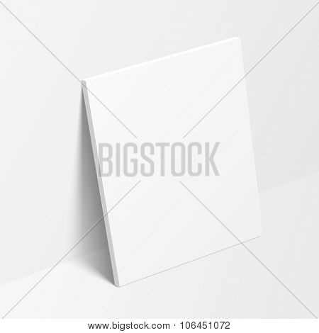 Vertical canvas standing on the floor near the wall. Vector illustration