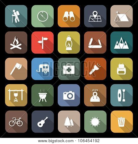 Trekking Flat Icons With Long Shadow