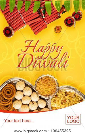 diwali crackers with diwali snacks or diwali food or diwali sweets in silver plate with mango leaf g