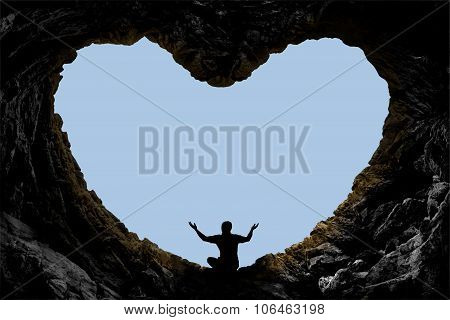 cave landscape and prayer