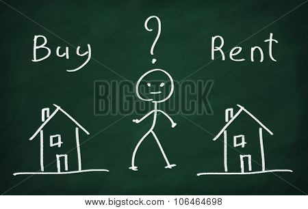 The character thinking what to choose buy house or rent? poster