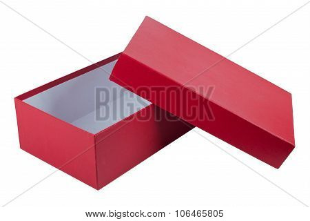 Open Red Box For Shoes Isolated On White Background