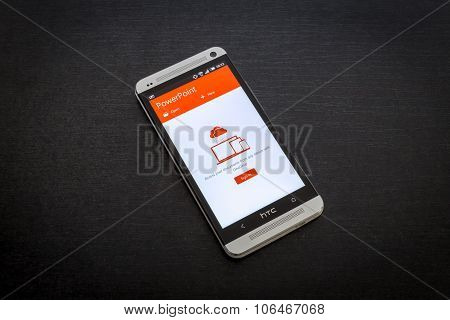 Microsoft PowerPoint app on screen of a mobile smartphone.