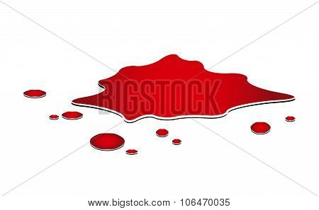 Blood Puddle, Murder Place, Drop, Blots, Stain, Red Plash Od Blood. Vector Illustration Isolated On
