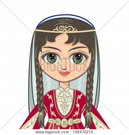 The girl in the Chechen suit. Portrait, avatar