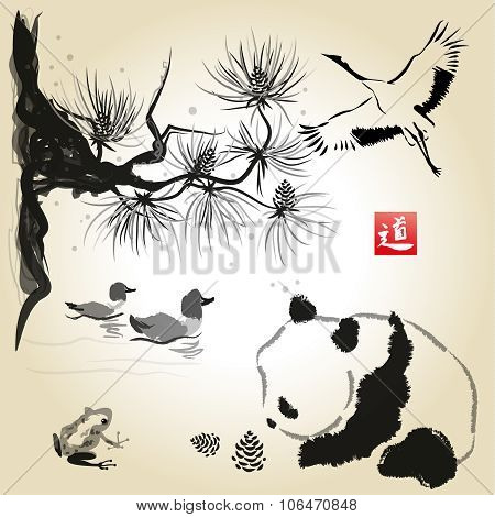 Card With Cedar In The Bird And Panda Bear