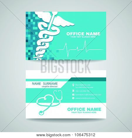 Business card for Medical healthcare - Whtie Caduceus , Stethoscope and Waves of the Heart on Soft B