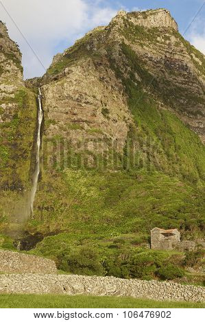 Landscape With Waterfall In Faja Grande, Flores Island. Azores, Portugal