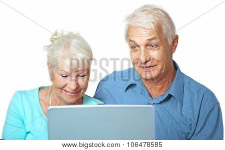 Senior couple smiling  and excited looking at the laptop on white background