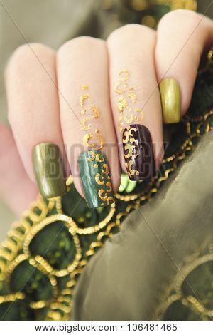 Green manicure.