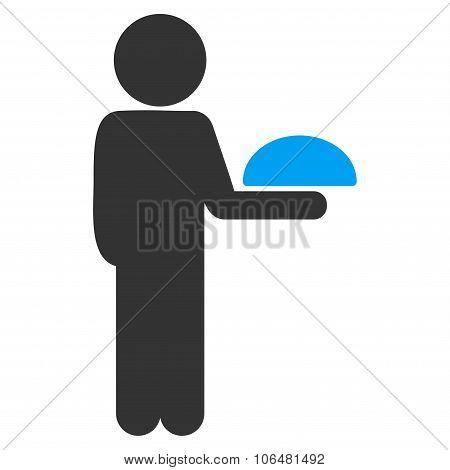 Child Waiter vector icon. Style is flat symbol, rounded angles, white background. poster