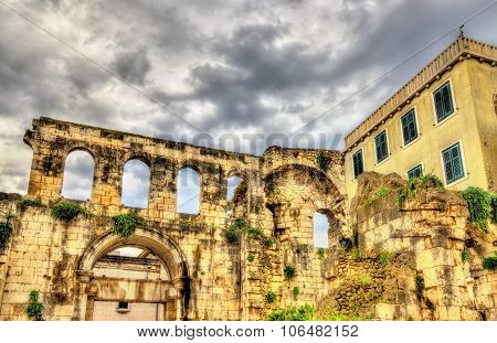 Ancient ruins in Diocletian Palace - Split Croatia poster