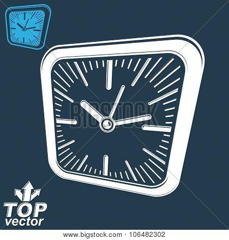 3D Vector Square Wall Clock, Inverse Version Included. Time Idea Perspective Conceptual Classic Symb