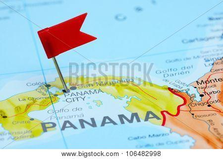 Panama pinned on a map of America