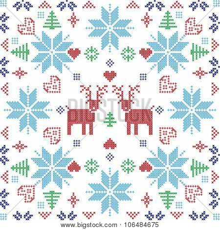 Xmas Pattern In Square Shape With Reindeers.eps
