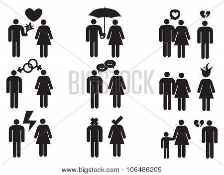Couples And Relationships Vector Icon Set