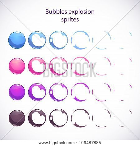Funny cartoon colorful bubbles burst